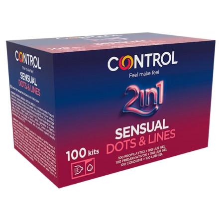 Control Sensual Dots&Lines 2 in 1 - 100 pezzi preservativi stimolanti e lubrificante