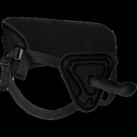 Deluxe Silicone Strapon Curvo 8inch Black Harness Dildo