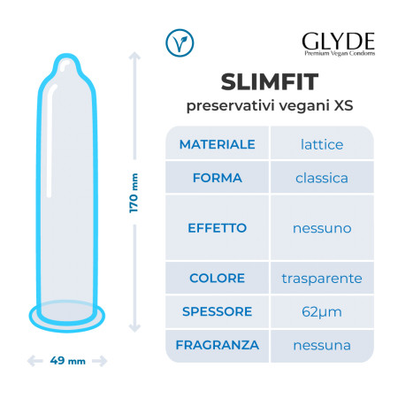 Preservativi vegani XS Ultra Slimfit Glyde