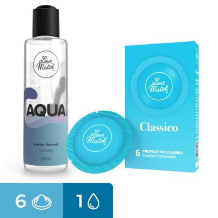 Kit preservativi classici e lubrificate Kit Classico Aqua Love Match