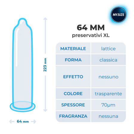 Preservativi MY.SIZE - profilattici per tutte le misure-64 mm