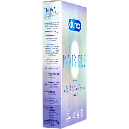 Preservativi ultrasottili Invisible Extra Lubricated Durex
